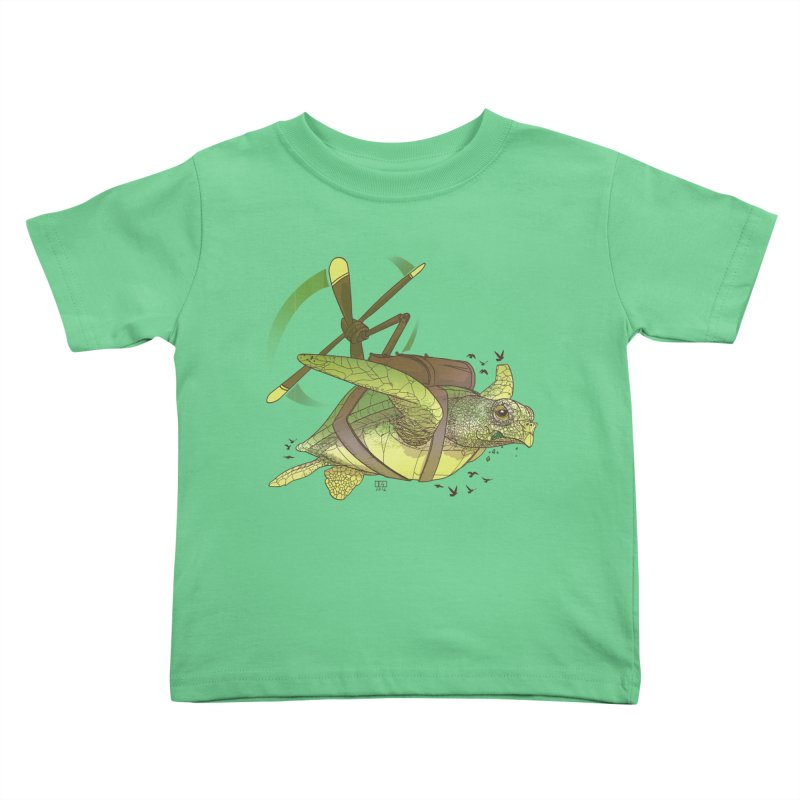 Fred the Giant Flying Laser-Eyed Turtle Kids Toddler T-Shirt by march1studios's Artist Shop