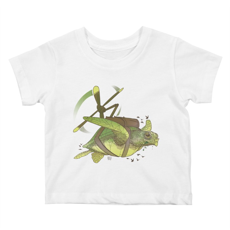 Fred the Giant Flying Laser-Eyed Turtle Kids Baby T-Shirt by march1studios's Artist Shop