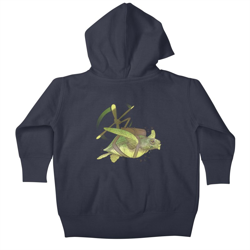 Fred the Giant Flying Laser-Eyed Turtle Kids Baby Zip-Up Hoody by march1studios's Artist Shop