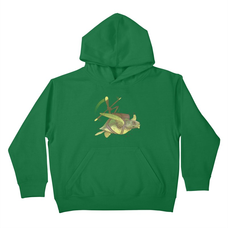 Fred the Giant Flying Laser-Eyed Turtle Kids Pullover Hoody by march1studios's Artist Shop