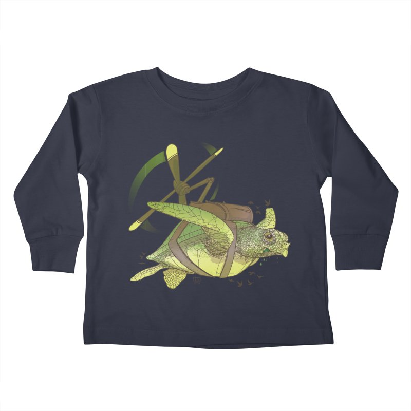 Fred the Giant Flying Laser-Eyed Turtle Kids Toddler Longsleeve T-Shirt by march1studios's Artist Shop
