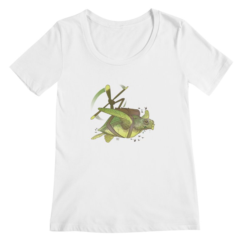 Fred the Giant Flying Laser-Eyed Turtle Women's Scoopneck by march1studios's Artist Shop
