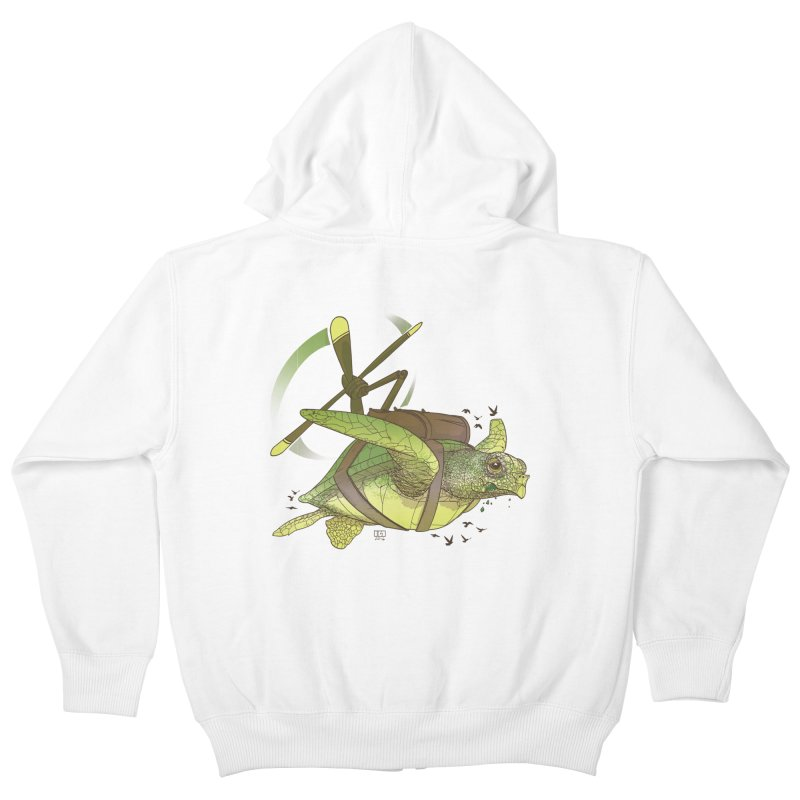 Fred the Giant Flying Laser-Eyed Turtle Kids Zip-Up Hoody by march1studios's Artist Shop
