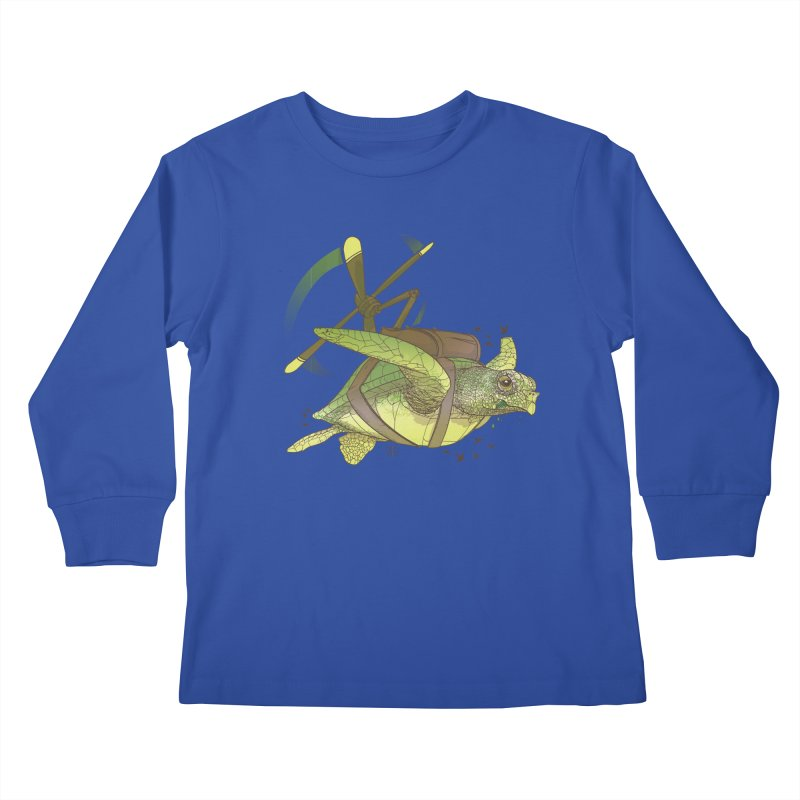 Fred the Giant Flying Laser-Eyed Turtle Kids Longsleeve T-Shirt by march1studios's Artist Shop