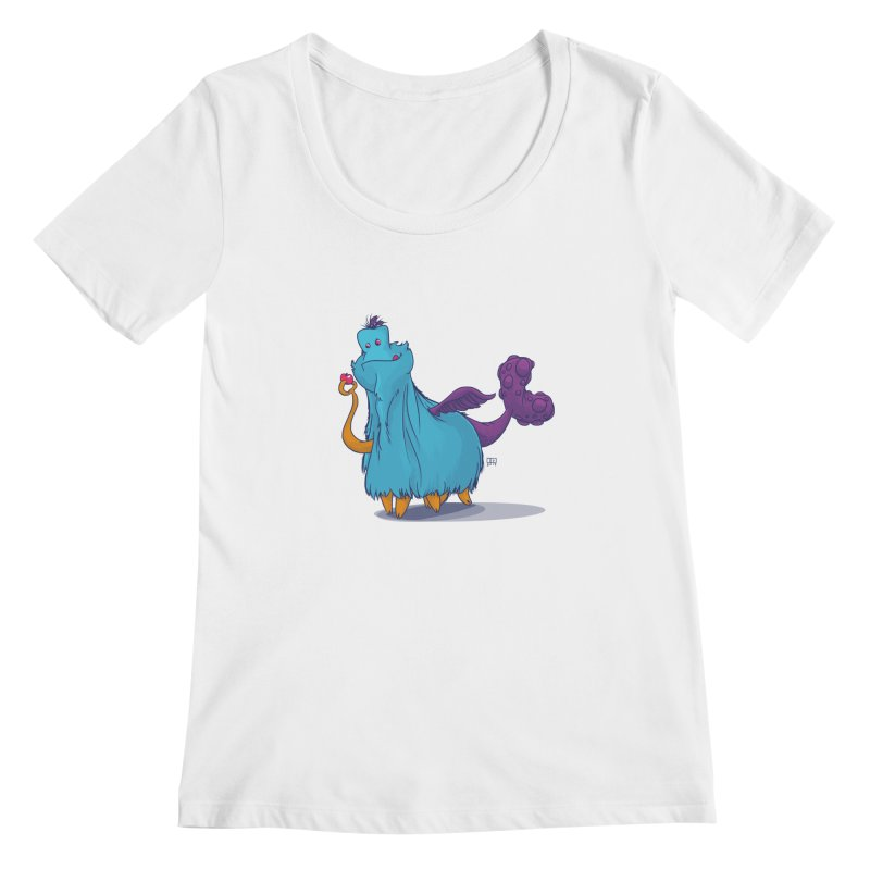 The Fluey Monster Women's Scoopneck by march1studios's Artist Shop
