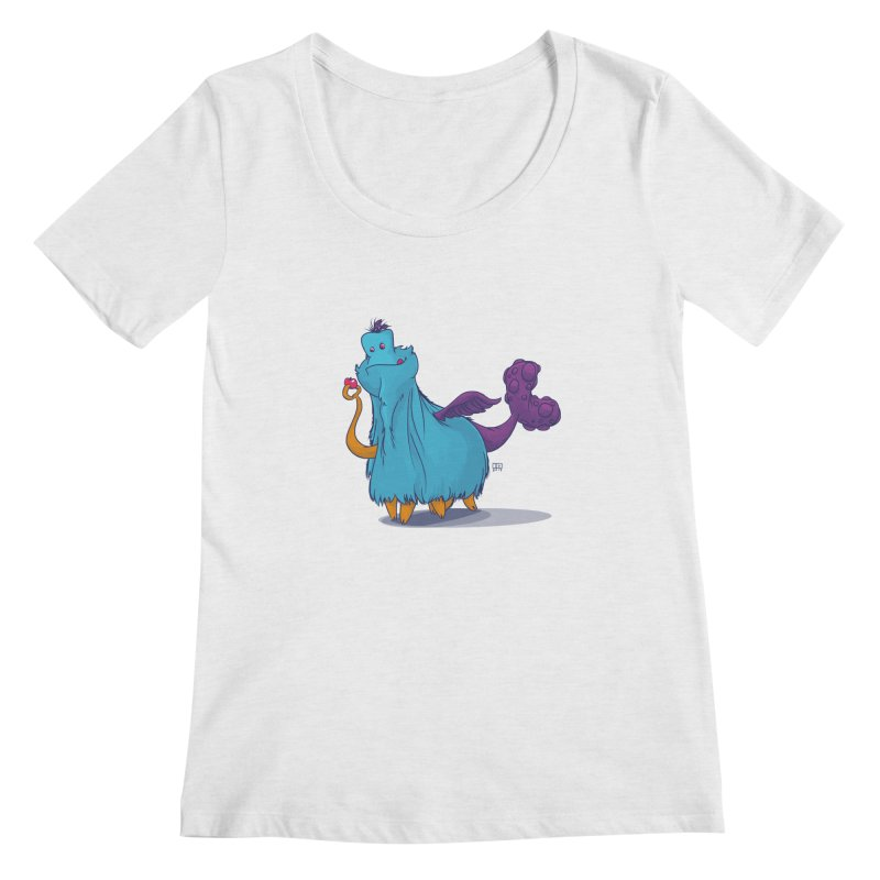 The Fluey Monster Women's Regular Scoop Neck by march1studios's Artist Shop