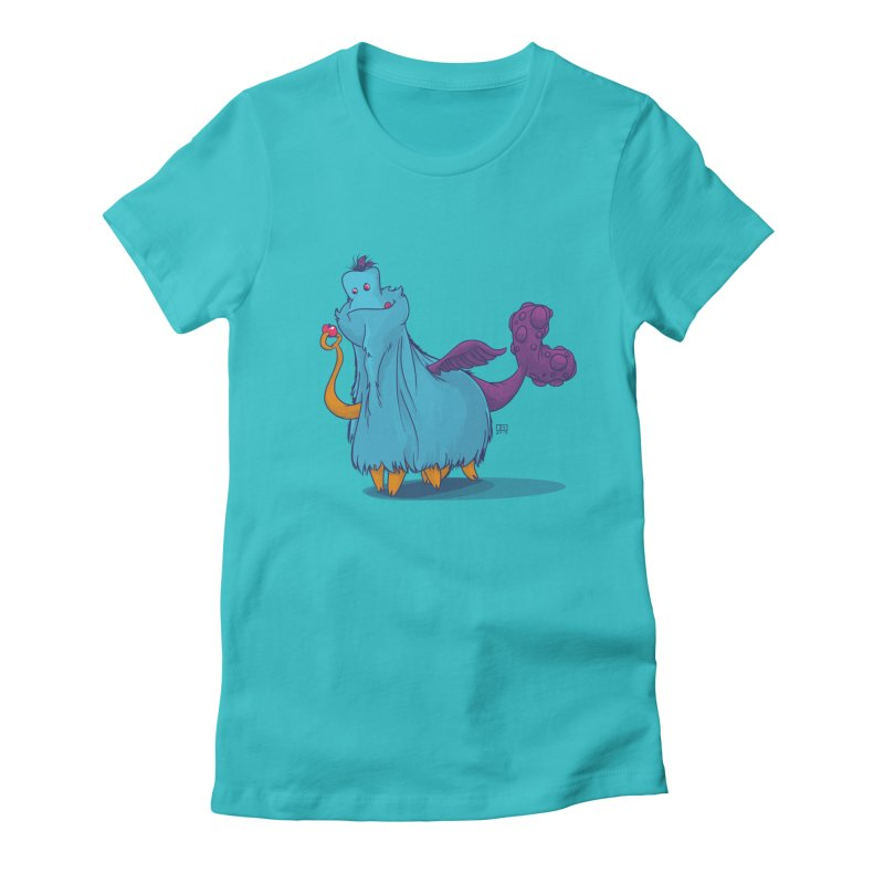 The Fluey Monster Women's Fitted T-Shirt by march1studios's Artist Shop