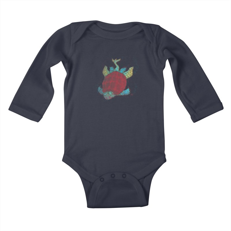 The Colossus Red Testudine Kids Baby Longsleeve Bodysuit by march1studios's Artist Shop