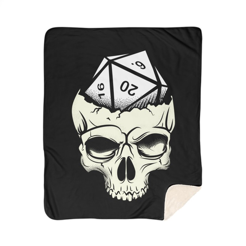 White Die of Death Home Sherpa Blanket Blanket by March1Studios on Threadless