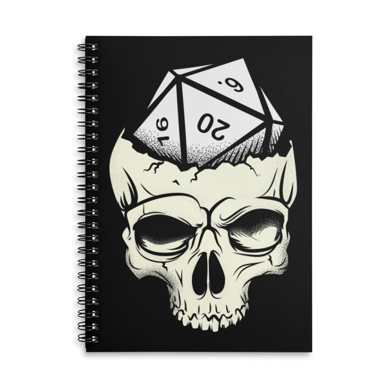 White Die of Death Accessories Lined Spiral Notebook by March1Studios on Threadless