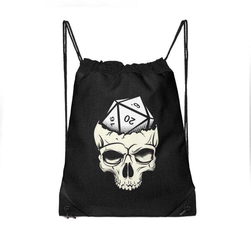 White Die of Death Accessories Drawstring Bag Bag by March1Studios on Threadless