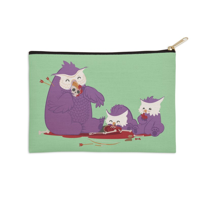 Owlbear Picnic Accessories Zip Pouch by March1Studios on Threadless