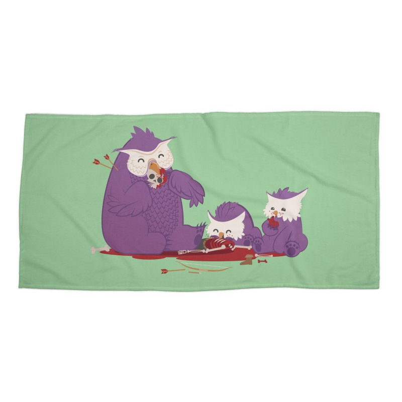 Owlbear Picnic Accessories Beach Towel by March1Studios on Threadless