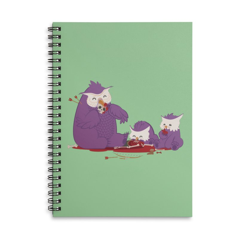 Owlbear Picnic Accessories Lined Spiral Notebook by March1Studios on Threadless