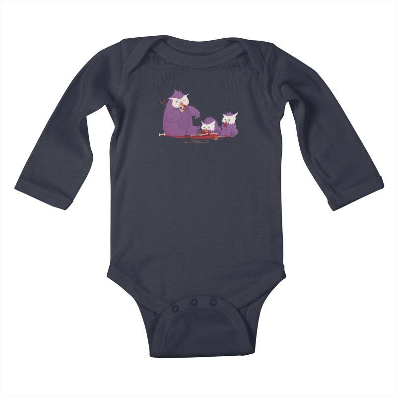 Owlbear Picnic Kids Baby Longsleeve Bodysuit by March1Studios on Threadless
