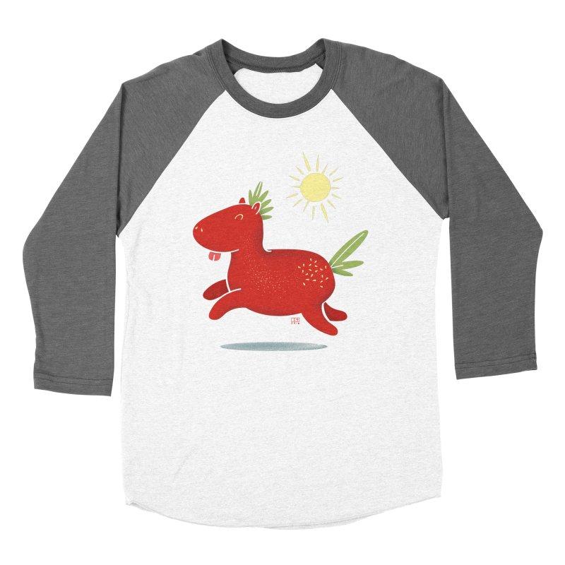 Strawberry Horse Men's Baseball Triblend T-Shirt by march1studios's Artist Shop