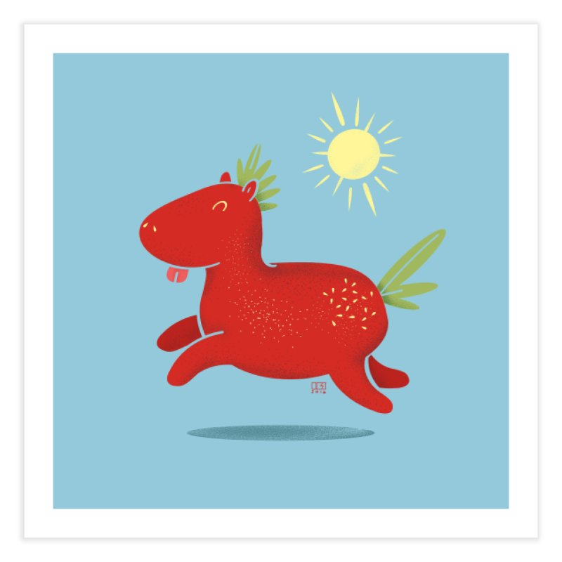 Strawberry Horse Home Fine Art Print by march1studios's Artist Shop