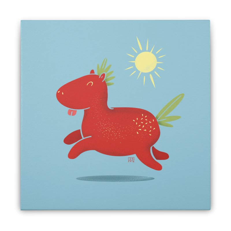 Strawberry Horse Home Stretched Canvas by march1studios's Artist Shop