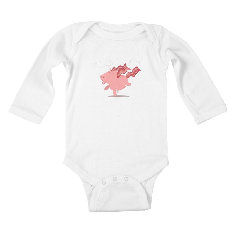 Bacon Horse Kids Baby Longsleeve Bodysuit by march1studios's Artist Shop