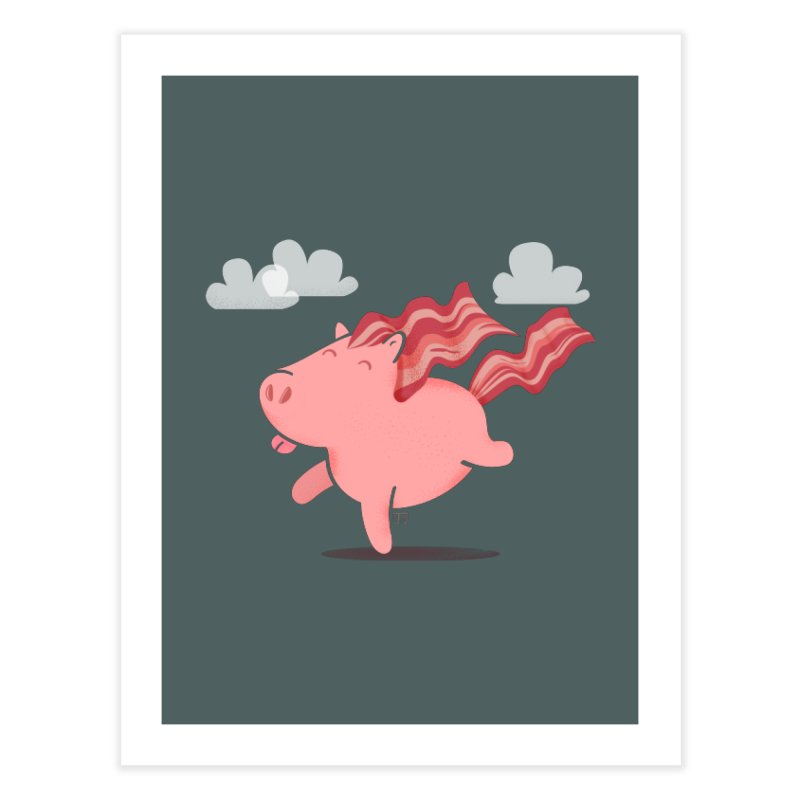 Bacon Horse Home Fine Art Print by march1studios's Artist Shop