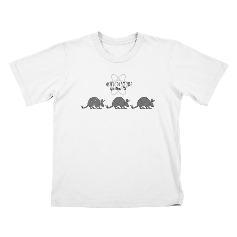 Armadillos Marching Kids T-Shirt by March for Science Austin, TX