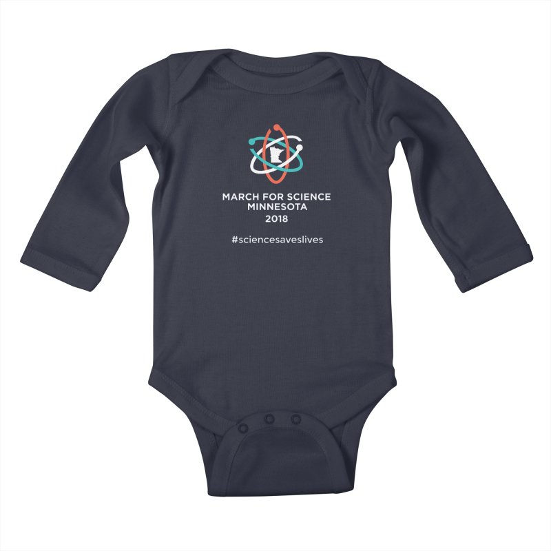 March for Science (Logo + Words) in Kids Baby Longsleeve Bodysuit Midnight by March for Science Minnesota Swag