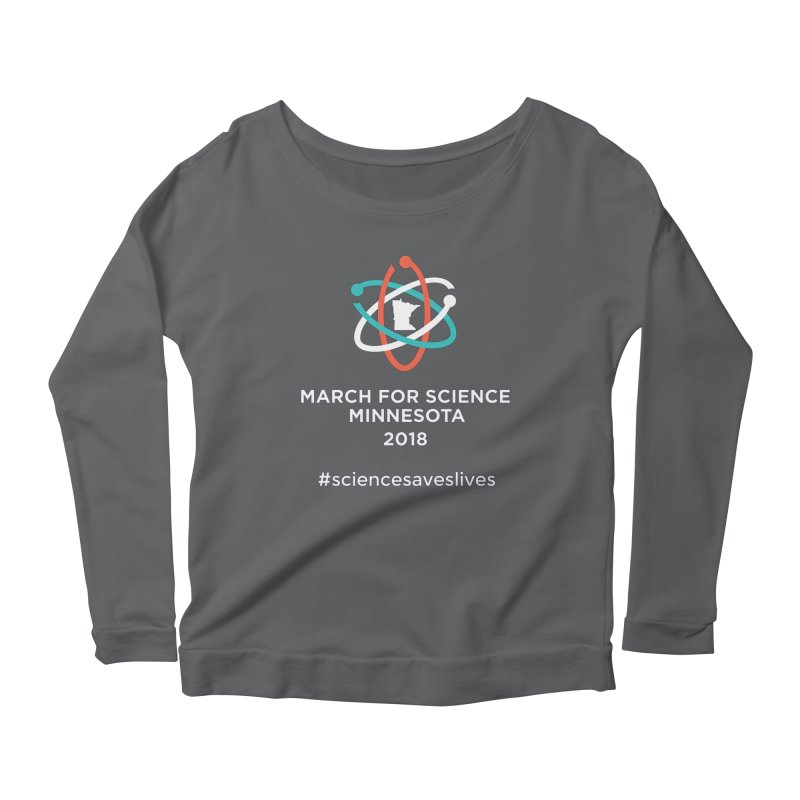 March for Science (Logo + Words) Women's Scoop Neck Longsleeve T-Shirt by March for Science Minnesota Swag