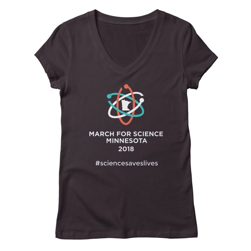 March for Science (Logo + Words) Women's Regular V-Neck by March for Science Minnesota Swag