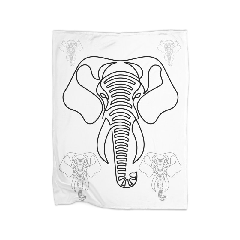 Minimalist Elephant (black on white) Home Fleece Blanket Blanket by Marci Brinker's Artist Shop