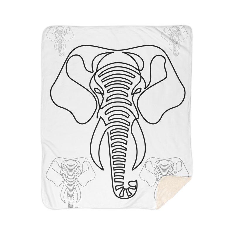 Minimalist Elephant (black on white) Home Sherpa Blanket Blanket by Marci Brinker's Artist Shop