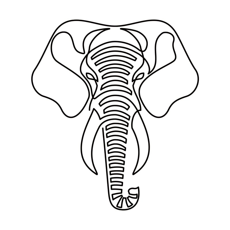Minimalist Elephant (black on white) Men's T-Shirt by Marci Brinker's Artist Shop