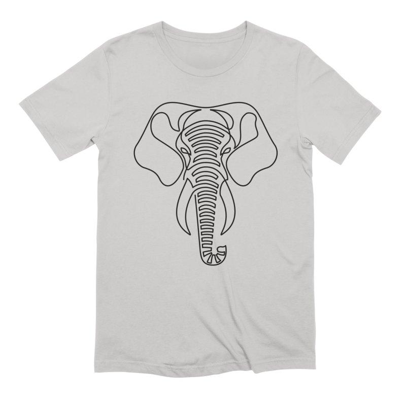 Minimalist Elephant (black on white) Men's Extra Soft T-Shirt by Marci Brinker's Artist Shop