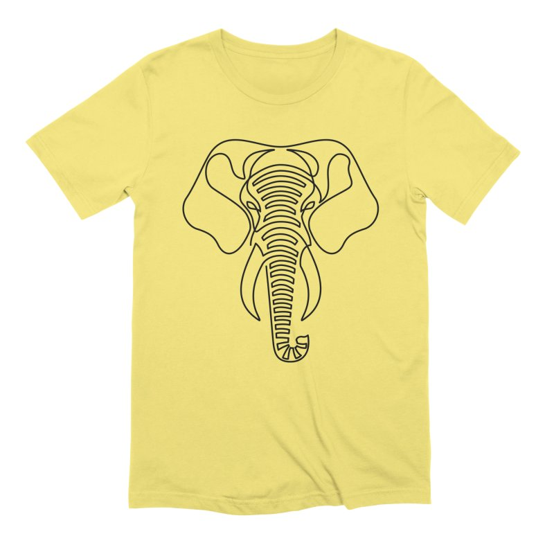 Minimalist Elephant (black on white) Men's Extra Soft T-Shirt by Marci Brinker's Artist Shop