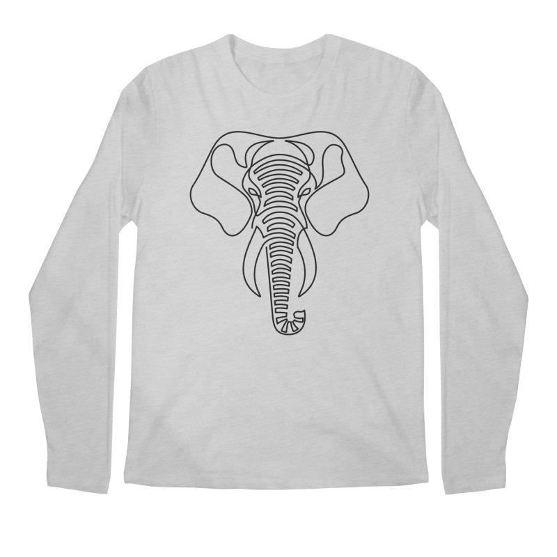 Minimalist Elephant (black on white) Men's Longsleeve T-Shirt by Marci Brinker's Artist Shop