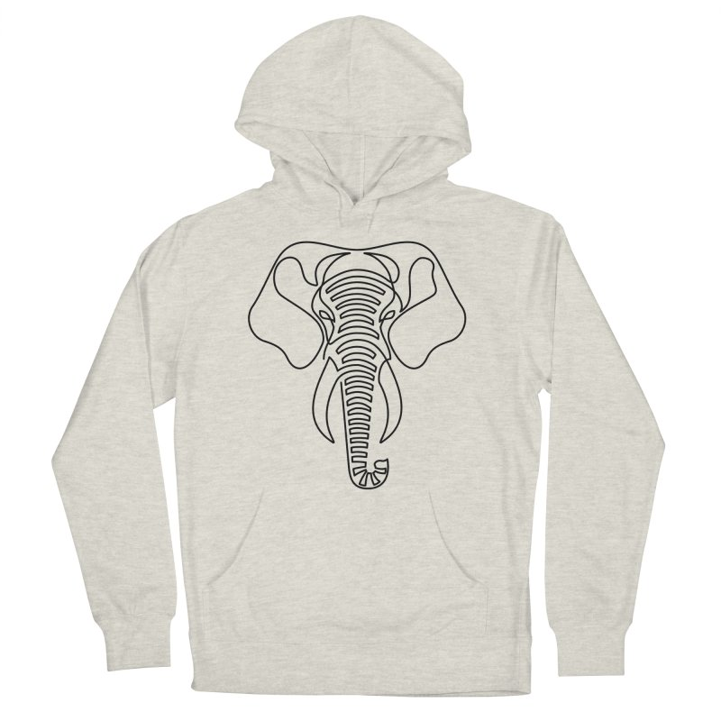 Minimalist Elephant (black on white) Men's French Terry Pullover Hoody by Marci Brinker's Artist Shop