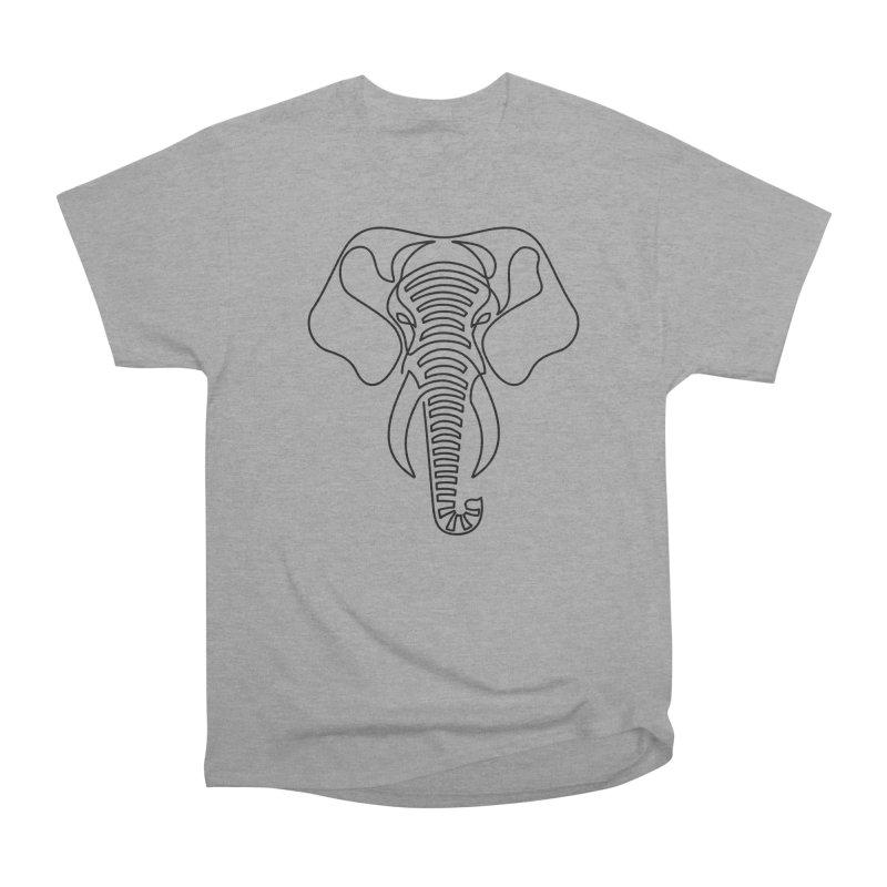 Minimalist Elephant (black on white) Men's Heavyweight T-Shirt by Marci Brinker's Artist Shop
