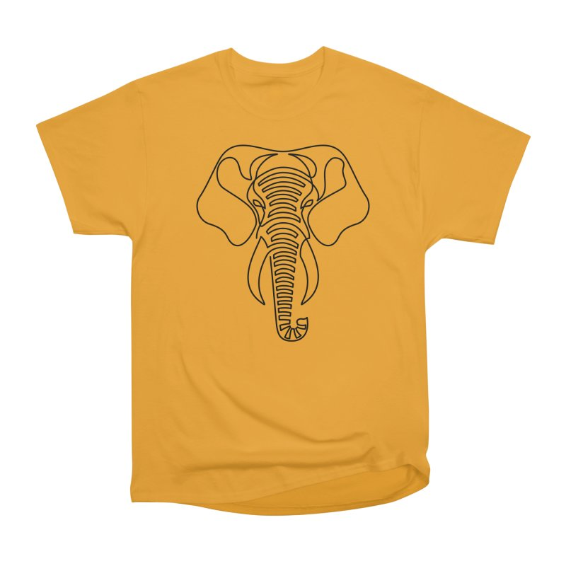 Minimalist Elephant (black on white) Women's Heavyweight Unisex T-Shirt by Marci Brinker's Artist Shop