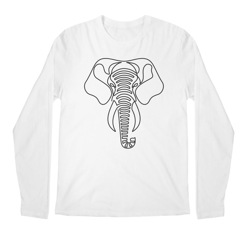 Minimalist Elephant (black on white) Men's Longsleeve T-Shirt by Marci Brinker's Artist Shop