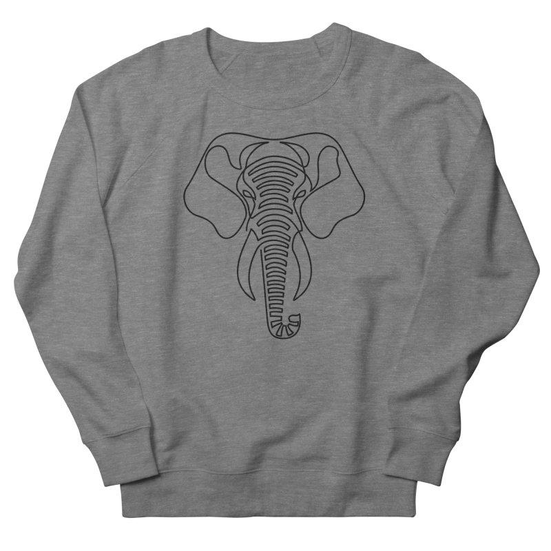 Minimalist Elephant (black on white) Men's Sweatshirt by Marci Brinker's Artist Shop