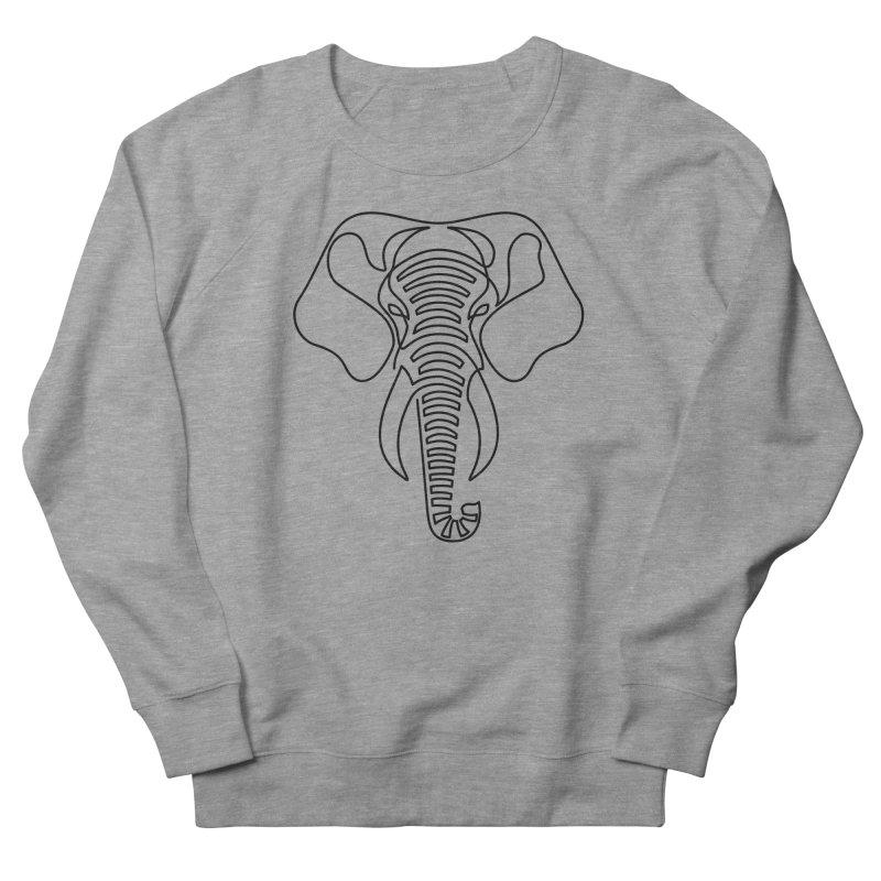Minimalist Elephant (black on white) Men's French Terry Sweatshirt by Marci Brinker's Artist Shop