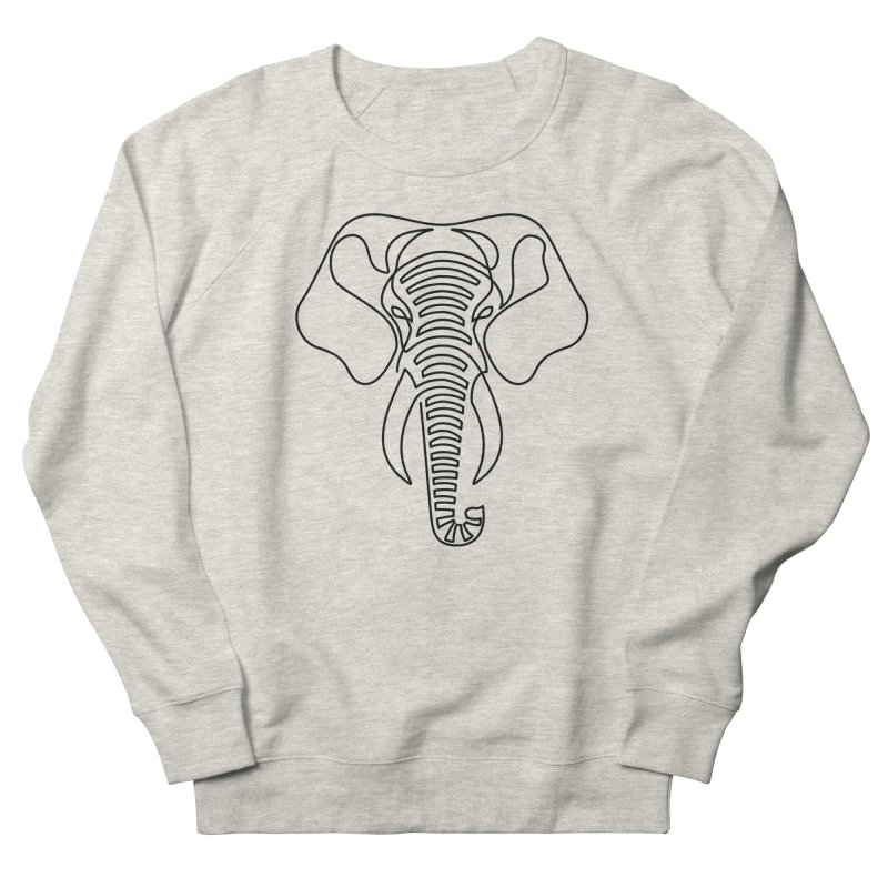 Minimalist Elephant (black on white) Men's Sweatshirt by Marci Brinker's Artist Shop