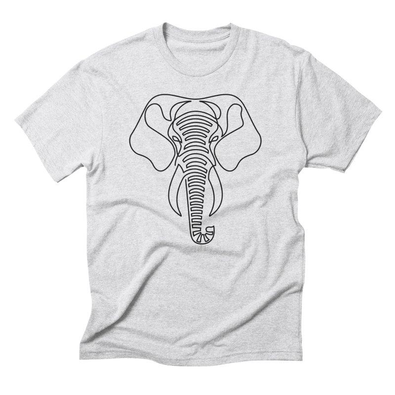 Minimalist Elephant (black on white) Men's Triblend T-Shirt by Marci Brinker's Artist Shop