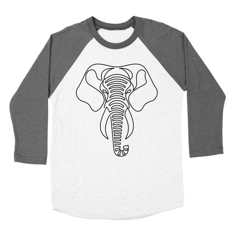 Minimalist Elephant (black on white) Men's Baseball Triblend Longsleeve T-Shirt by Marci Brinker's Artist Shop