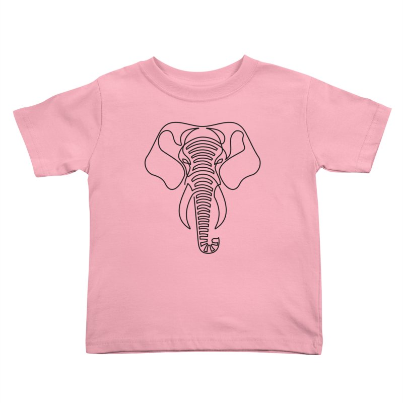 Minimalist Elephant (black on white) Kids Toddler T-Shirt by Marci Brinker's Artist Shop