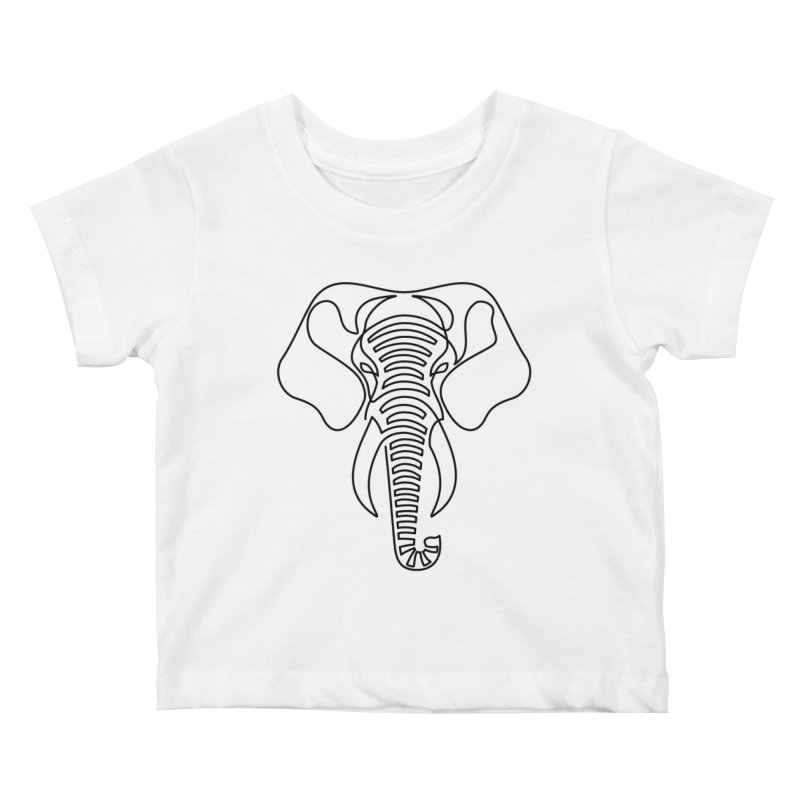 Minimalist Elephant (black on white) Kids Baby T-Shirt by Marci Brinker's Artist Shop