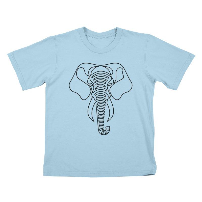 Minimalist Elephant (black on white) Kids T-Shirt by Marci Brinker's Artist Shop