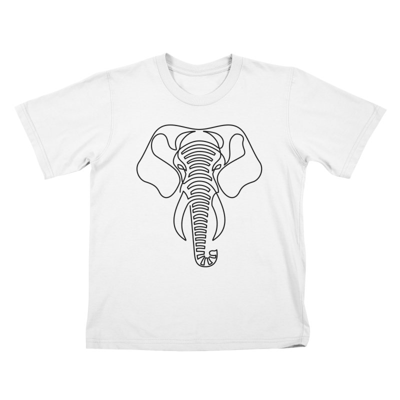Minimalist Elephant (black on white) Kids T-Shirt by Marci Brinker's Artist Shop