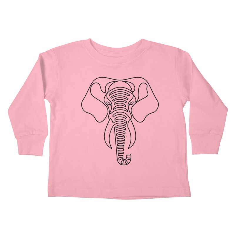 Minimalist Elephant (black on white) Kids Toddler Longsleeve T-Shirt by Marci Brinker's Artist Shop