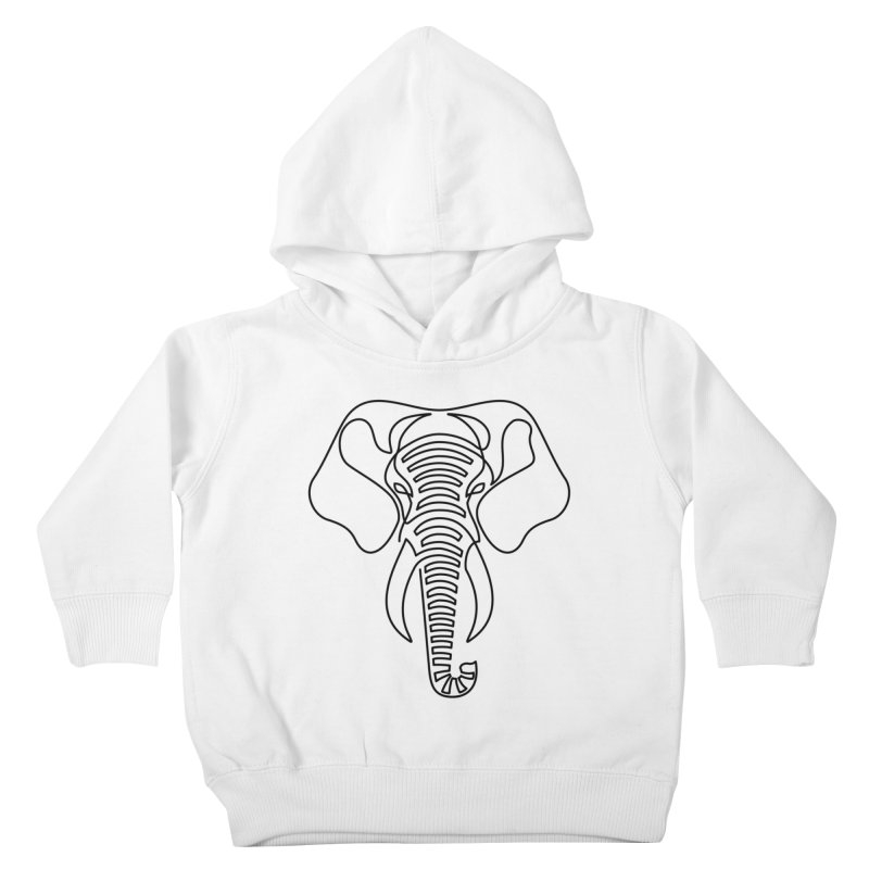 Minimalist Elephant (black on white) Kids Toddler Pullover Hoody by Marci Brinker's Artist Shop
