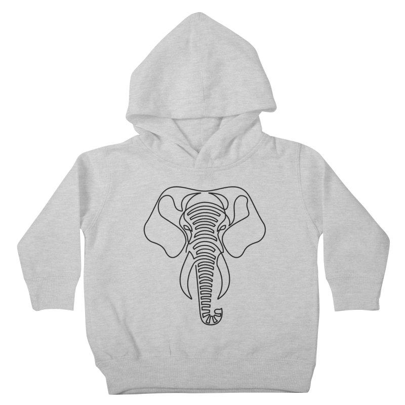 Minimalist Elephant (black on white) Kids Toddler Pullover Hoody by Marci Brinker's Artist Shop
